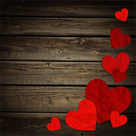 simsearch:400-04863562,k - Vector illustration of hearts on the wooden background Stock Photo - Budget Royalty-Free & Subscription, Code: 400-07758081