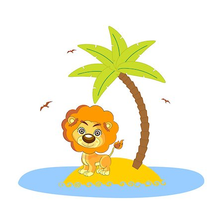 roar lion head picture - lion under the palm art illustration cute Stock Photo - Budget Royalty-Free & Subscription, Code: 400-07758616