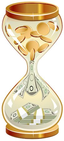 sand clock - Time is money. Hourglass coins and notes. Illustration in vector format Stock Photo - Budget Royalty-Free & Subscription, Code: 400-07758802