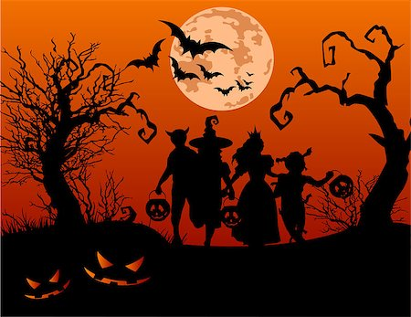 Halloween background with silhouettes of children trick or treating in Halloween costume Stock Photo - Budget Royalty-Free & Subscription, Code: 400-07758813