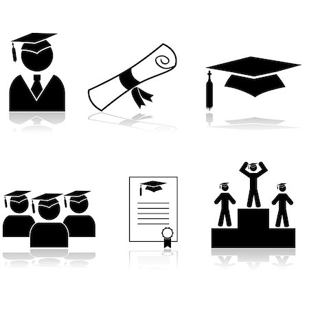 students learning cartoon - Icon set showing students graduating from school or university Stock Photo - Budget Royalty-Free & Subscription, Code: 400-07758851
