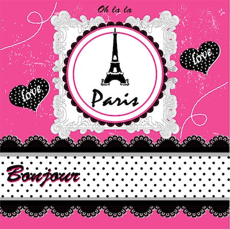 vintage paris card. vector illustration art cute Stock Photo - Budget Royalty-Free & Subscription, Code: 400-07759041
