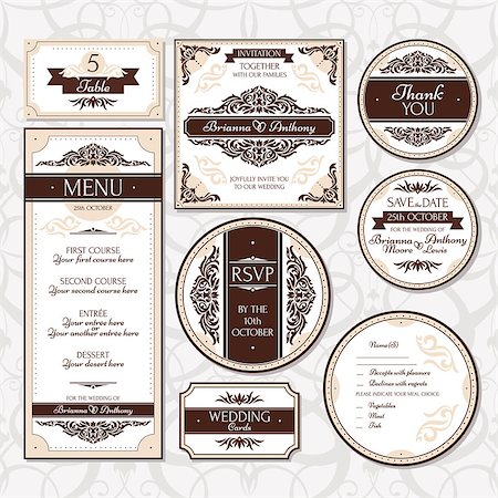 elegant wedding floral graphic - Set of floral wedding cards vector illustration Stock Photo - Budget Royalty-Free & Subscription, Code: 400-07759060