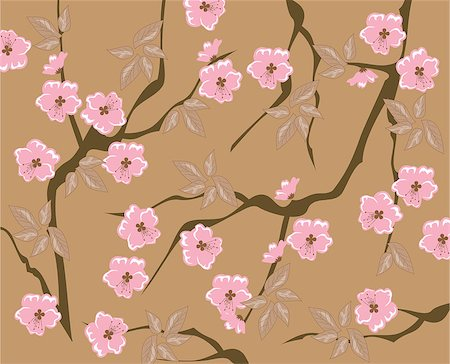 vector blooming cherry seamless backgorund Stock Photo - Budget Royalty-Free & Subscription, Code: 400-07759453