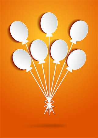 Holiday paper balloons tied with bow on orange background. Blank tags. Vector illustration Stock Photo - Budget Royalty-Free & Subscription, Code: 400-07759469