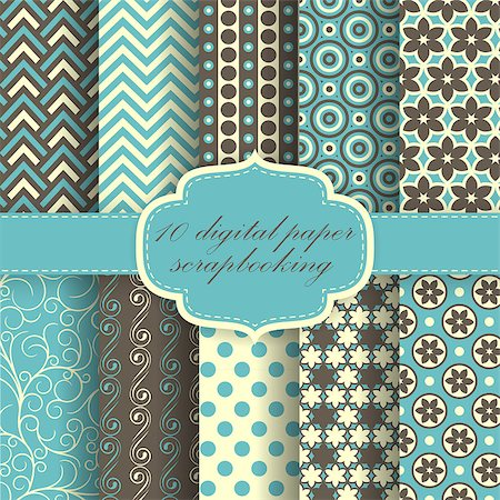 Set of Beautiful Vector Paper For Scrapbook.(can be repeated and scaled in any size) Stock Photo - Budget Royalty-Free & Subscription, Code: 400-07759609