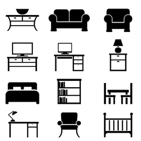 soleilc (artist) - Home furniture icon set in black Stock Photo - Budget Royalty-Free & Subscription, Code: 400-07753765