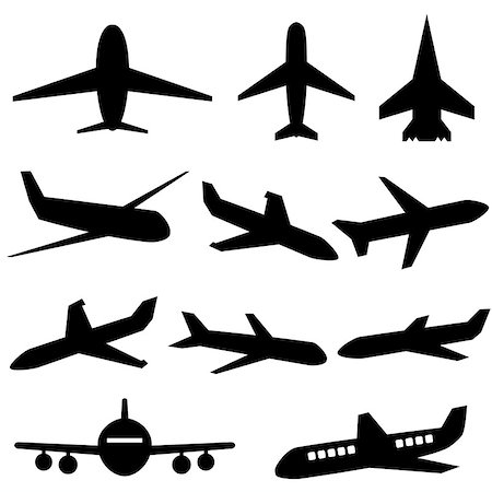 soleilc (artist) - Plane icons in black on white background Stock Photo - Budget Royalty-Free & Subscription, Code: 400-07753767