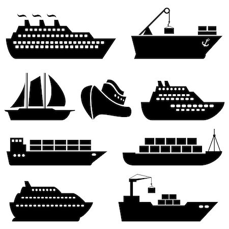 soleilc (artist) - Ships, boats, cargo, logistics, transportation and shipping icons Stock Photo - Budget Royalty-Free & Subscription, Code: 400-07753768