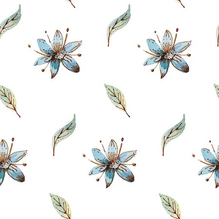 Seamless pattern - background with watercolor flowers. Stock Photo - Budget Royalty-Free & Subscription, Code: 400-07753823