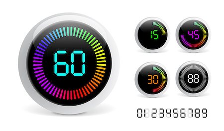 Vector Digital Countdown Timer isolated on black background Stock Photo - Budget Royalty-Free & Subscription, Code: 400-07769952