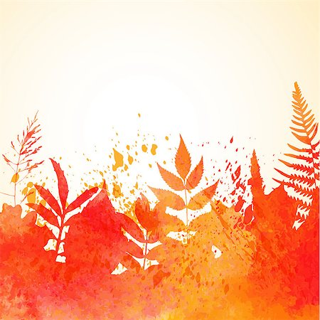 plant leaf paintings graphic - Orange watercolor painted vector autumn foliage background. Also available as a Vector in Adobe illustrator EPS format, compressed in a zip file. The vector version be scaled to any size without loss of quality. Stock Photo - Budget Royalty-Free & Subscription, Code: 400-07775299