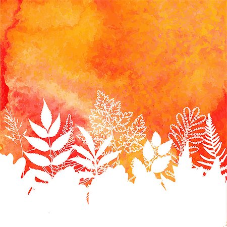 plant leaf paintings graphic - Orange watercolor painted vector autumn foliage background. Also available as a Vector in Adobe illustrator EPS format, compressed in a zip file. The vector version be scaled to any size without loss of quality. Stock Photo - Budget Royalty-Free & Subscription, Code: 400-07776012