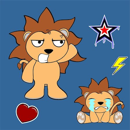cute lion cartoon sticker set in vector format very easy to edit Stock Photo - Budget Royalty-Free & Subscription, Code: 400-07776566