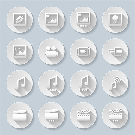 Set of flat round media icons  on the gray background Stock Photo - Budget Royalty-Free & Subscription, Code: 400-07776637
