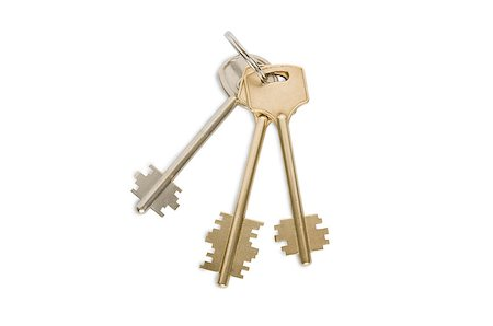 silhouette hanging keys - Key ring with three keys on on white background clipping path included Stock Photo - Budget Royalty-Free & Subscription, Code: 400-07770750