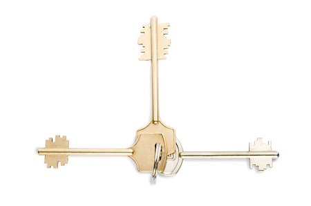 silhouette hanging keys - Key ring with three keys on on white background clipping path included Stock Photo - Budget Royalty-Free & Subscription, Code: 400-07770751