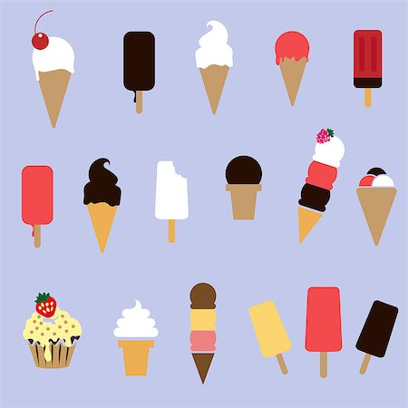 scalable - set of different types ice-creams in vector Stock Photo - Budget Royalty-Free & Subscription, Code: 400-07770916