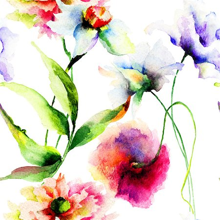 Summer seamless pattern with flowers, watercolor illustration Stock Photo - Budget Royalty-Free & Subscription, Code: 400-07795793