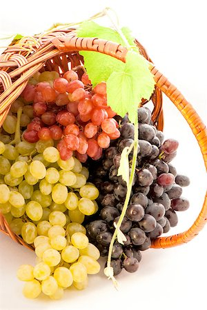 three varieties of grapes in a basket isolated on white background Stock Photo - Budget Royalty-Free & Subscription, Code: 400-07817181