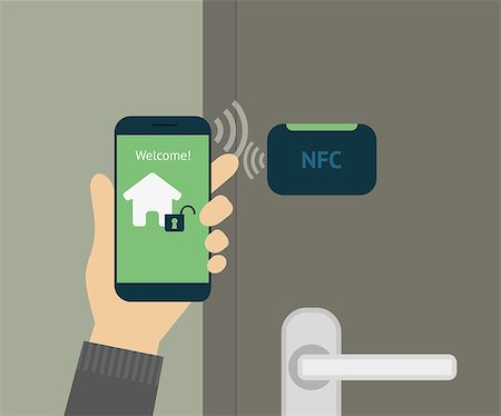 Vector illustration of mobile unlocking home door via smartphone. Stock Photo - Budget Royalty-Free & Subscription, Code: 400-07817292