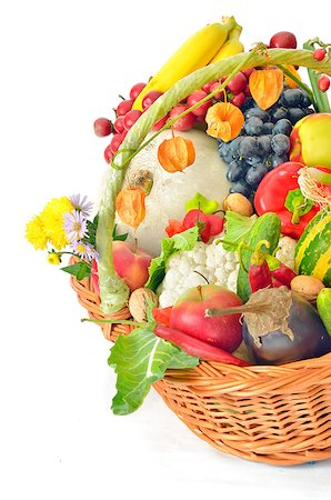 basket of fruit and vegetables Stock Photo - Budget Royalty-Free & Subscription, Code: 400-07818221