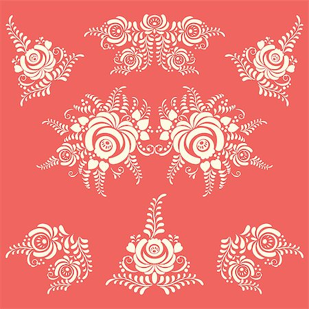 Vector Floral elements in Gzhel style. Flower background Stock Photo - Budget Royalty-Free & Subscription, Code: 400-07824727