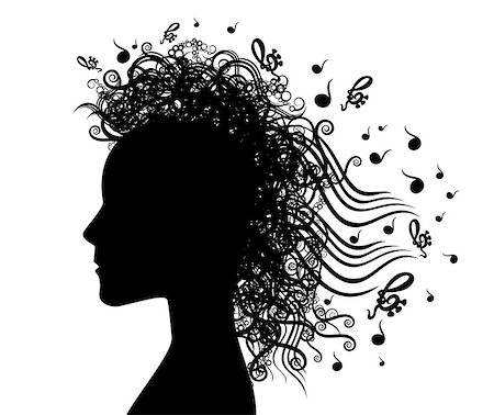 woman face silhouette and musical graphic background illustration Stock Photo - Budget Royalty-Free & Subscription, Code: 400-07825988