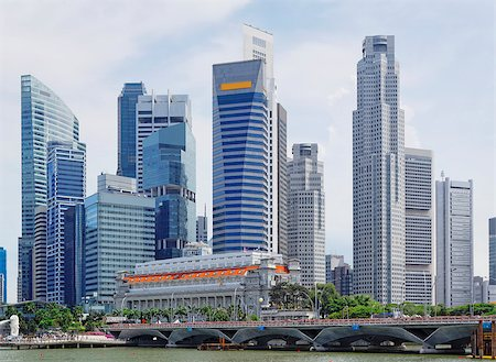 Singapore city skyline at day asia famous downtown Stock Photo - Budget Royalty-Free & Subscription, Code: 400-07826128