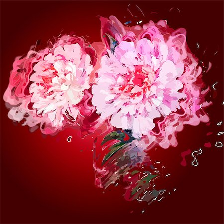 peony design vector - Grunge painting peony flowers. Stock Photo - Budget Royalty-Free & Subscription, Code: 400-07826788