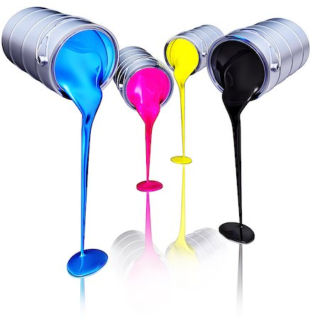 paint dripping graphic - 3D rendering of a cmyk concept Stock Photo - Budget Royalty-Free & Subscription, Code: 400-07828400