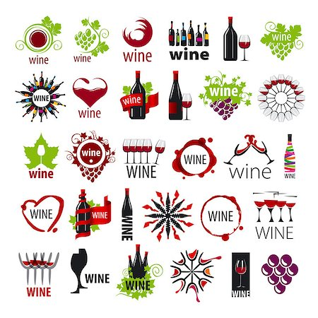 biggest collection of vector logos wine Stock Photo - Budget Royalty-Free & Subscription, Code: 400-07829164