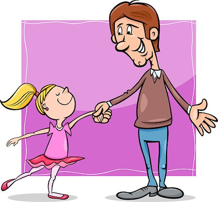 Cartoon Illustration of Father and Little Daughter Dancing Ballet Stock Photo - Budget Royalty-Free & Subscription, Code: 400-07829387