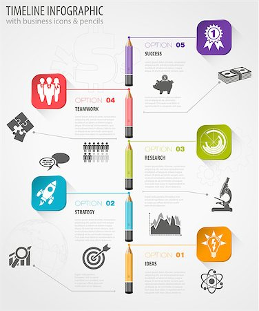 Business Timeline Infographic with Pencils, Icons and Number Options. Vector Template Stock Photo - Budget Royalty-Free & Subscription, Code: 400-07820303