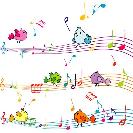 Music note with cartoon birds singing Stock Photo - Budget Royalty-Free & Subscription, Code: 400-07822482