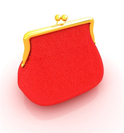 Leather purse on a white background Stock Photo - Budget Royalty-Free & Subscription, Code: 400-07822752