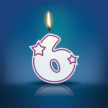 Candle number 6 with flame - eps 10 vector illustration Stock Photo - Budget Royalty-Free & Subscription, Code: 400-07835747