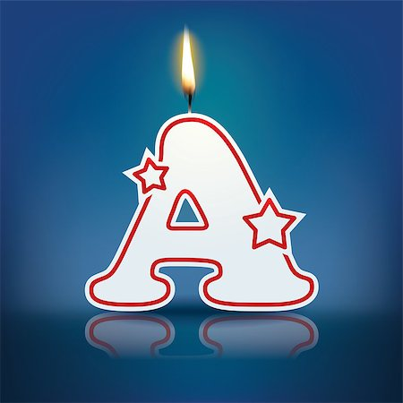 Candle letter A with flame - eps 10 vector illustration Stock Photo - Budget Royalty-Free & Subscription, Code: 400-07835751