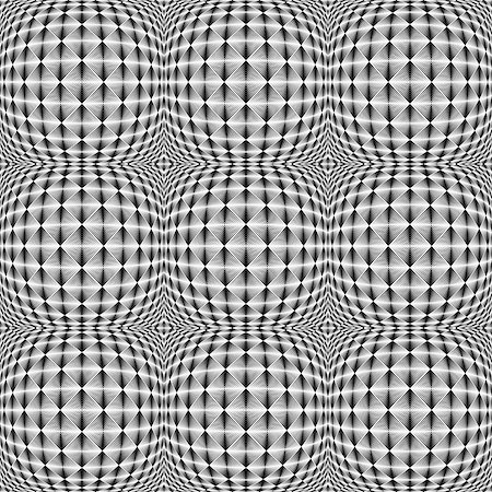 simsearch:400-04476890,k - Design seamless warped square trellised pattern. Abstract geometric monochrome background. Vector art Stock Photo - Budget Royalty-Free & Subscription, Code: 400-07836085