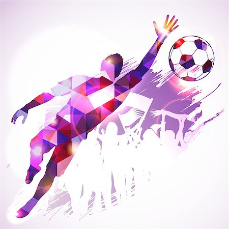 Silhouette Soccer Player Goalkeeper and Fans in Mosaic Pattern on grunge background, vector illustration. Stock Photo - Budget Royalty-Free & Subscription, Code: 400-07836375