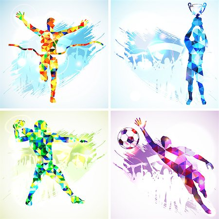 Set Silhouettes Soccer Player with Trophy, Winner, American Football Player and Goalkeeper in Mosaic Pattern and Fans on grunge background. Stock Photo - Budget Royalty-Free & Subscription, Code: 400-07836379