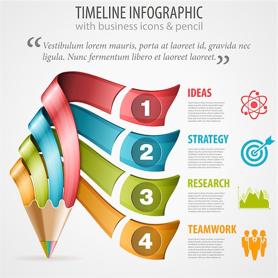 Business Timeline Infographic with Pencil, Icons and Number Options. Vector Template Stock Photo - Royalty-Free, Artist: TAlex, Image code: 400-07836371