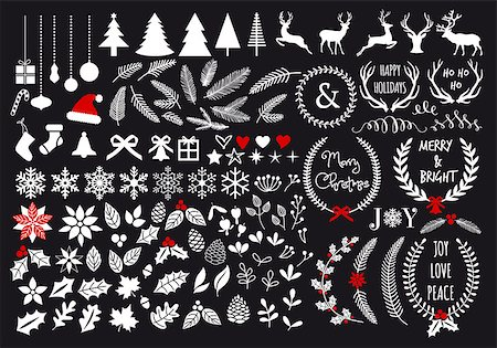 White Christmas, big set of graphic design elements, vector Stock Photo - Budget Royalty-Free & Subscription, Code: 400-07836901