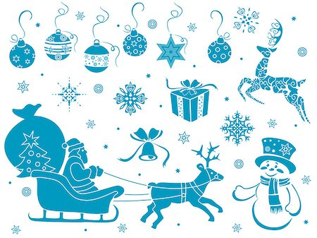 stenciling - Set of design stencils with Christmas motifs, hand drawing vector illustration Stock Photo - Budget Royalty-Free & Subscription, Code: 400-07836912