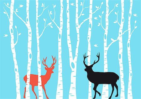 Reindeer with birch tree forest, Christmas card, vector Stock Photo - Budget Royalty-Free & Subscription, Code: 400-07831124