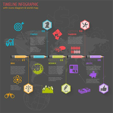 Business Timeline Infographic with Pencils, Icons and Number Options. Vector Template Stock Photo - Budget Royalty-Free & Subscription, Code: 400-07832113