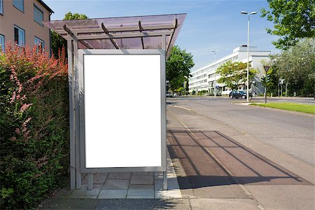 Bus stop billboard or poster, white, blank. Clipping path is included. Stock Photo - Budget Royalty-Free & Subscription, Code: 400-07832148