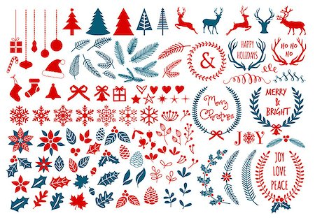 Big Christmas set with flowers, laurel wreath, snowflakes and antlers, vector design elements Stock Photo - Budget Royalty-Free & Subscription, Code: 400-07833955