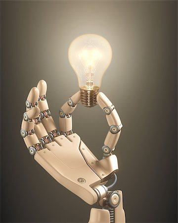 Robot hand holding a bulb on a conceptual idea technology. Clipping path included. Stock Photo - Budget Royalty-Free & Subscription, Code: 400-07894359