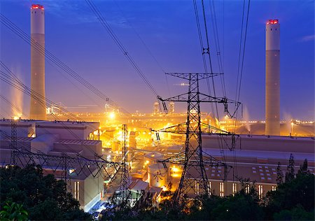 petrochemical industrial power plant factory at night Stock Photo - Budget Royalty-Free & Subscription, Code: 400-07895849